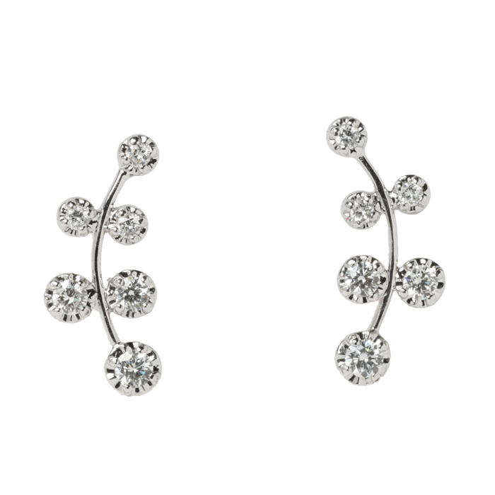 18K white gold Illusion-cut Dia Vine Earrings